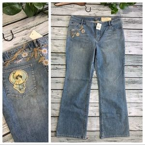 NWT J. Jill re:crafted embroidered jeans Sz 14
